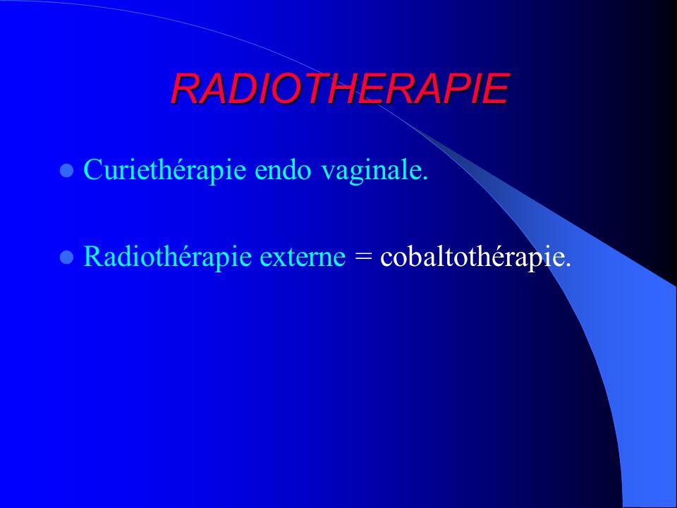 RADIOTHERAPIE Curiethérapie endo vaginale. Radiothérapie externe = cobaltothérapie.