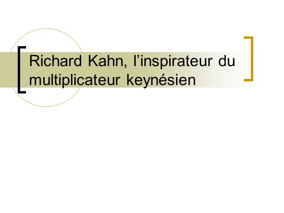 Introduction Richard Kahn Élève de Keynes Inspirateur de Keynes pour le multiplicateur de linvestissement