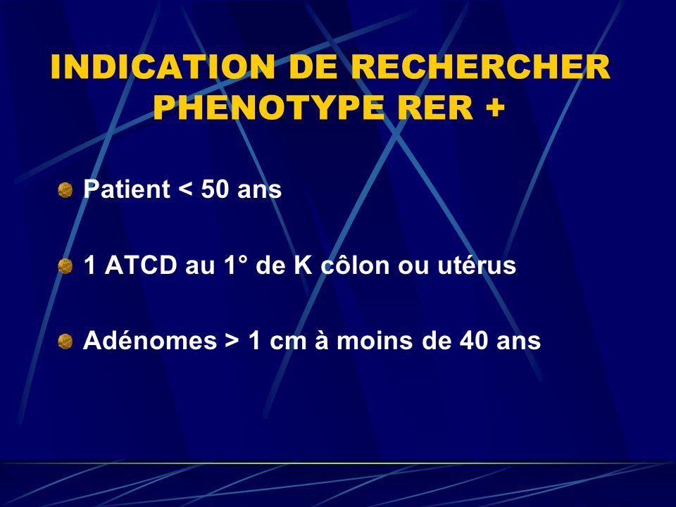 INDICATION DE RECHERCHER PHENOTYPE RER + Patient < 50 ans 1 ATCD au 1° de K côlon ou utérus Adénomes > 1 cm à moins de 40 ans