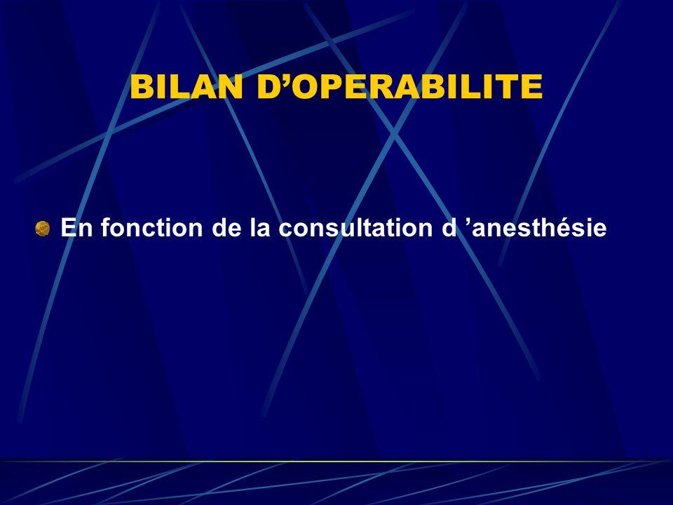 BILAN DOPERABILITE En fonction de la consultation d anesthésie