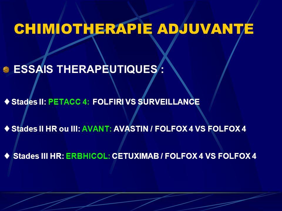 CHIMIOTHERAPIE ADJUVANTE ESSAIS THERAPEUTIQUES : Stades II: PETACC 4: FOLFIRI VS SURVEILLANCE Stades II HR ou III: AVANT: AVASTIN / FOLFOX 4 VS FOLFOX