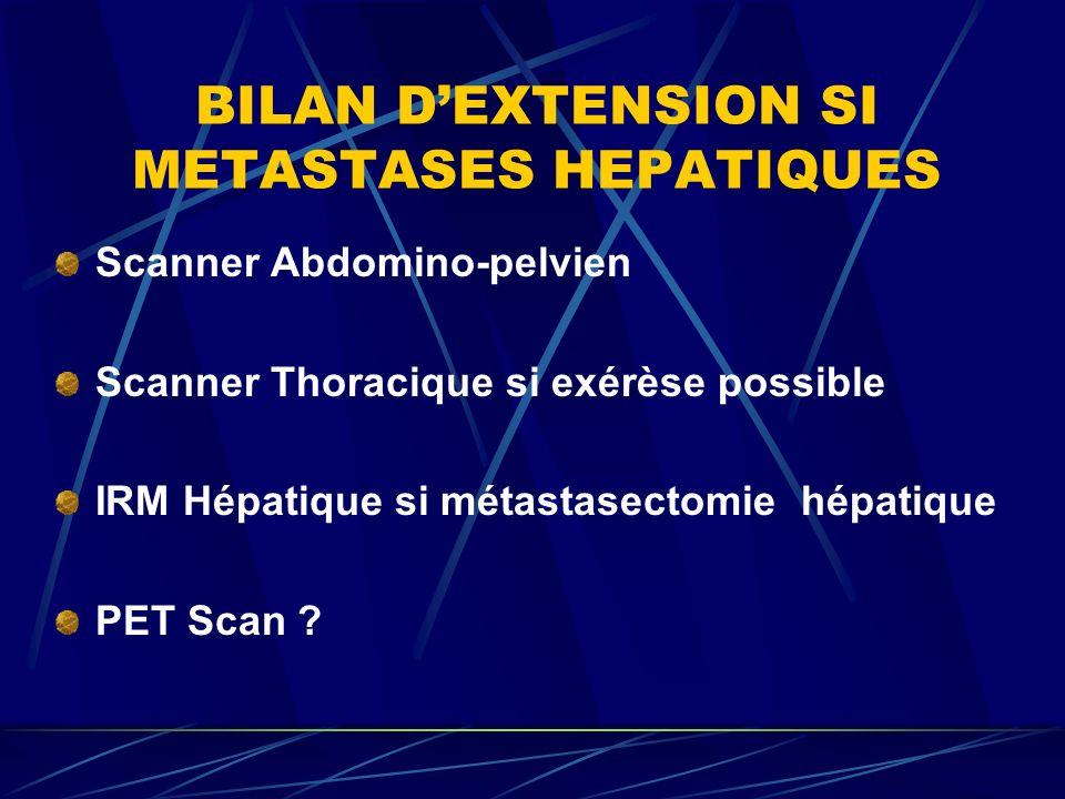BILAN DEXTENSION SI METASTASES HEPATIQUES Scanner Abdomino-pelvien Scanner Thoracique si exérèse possible IRM Hépatique si métastasectomie hépatique P