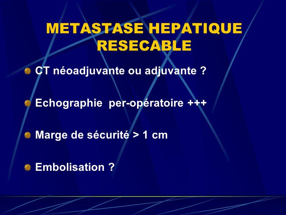 METASTASE HEPATIQUE RESECABLE CT néoadjuvante ou adjuvante ? Echographie per-opératoire +++ Marge de sécurité > 1 cm Embolisation ?