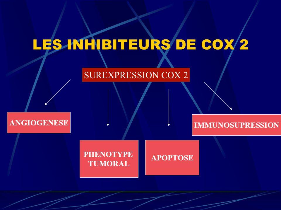 LES INHIBITEURS DE COX 2 SUREXPRESSION COX 2 ANGIOGENESE PHENOTYPE TUMORAL APOPTOSE IMMUNOSUPRESSION