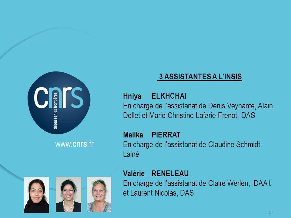 17 3 ASSISTANTES A LINSIS HniyaELKHCHAI En charge de lassistanat de Denis Veynante, Alain Dollet et Marie-Christine Lafarie-Frenot, DAS MalikaPIERRAT