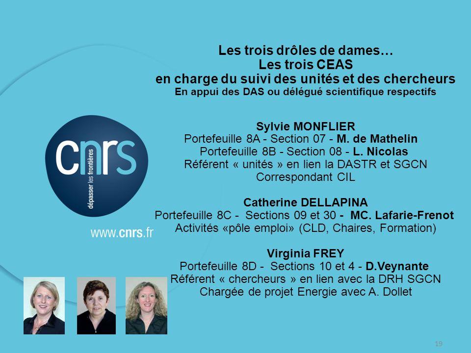 19 Les trois drôles de dames… Les trois CEAS en charge du suivi des unités et des chercheurs En appui des DAS ou délégué scientifique respectifs Sylvi