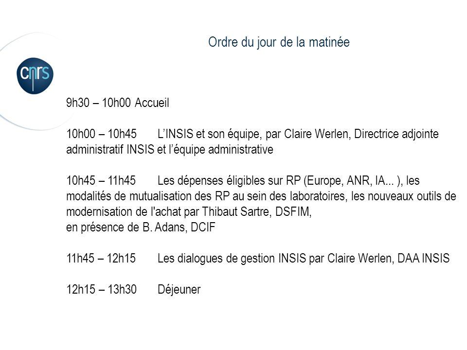2 9h30 – 10h00 Accueil 10h00 – 10h45LINSIS et son équipe, par Claire Werlen, Directrice adjointe administratif INSIS et léquipe administrative 10h45 –