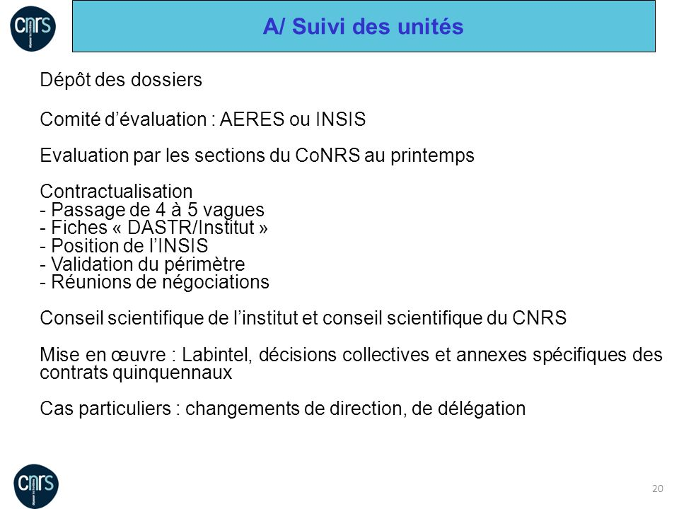 20 Dépôt des dossiers Comité dévaluation : AERES ou INSIS Evaluation par les sections du CoNRS au printemps Contractualisation - Passage de 4 à 5 vagu