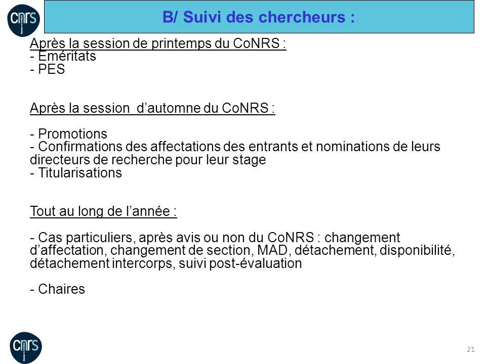 21 Après la session de printemps du CoNRS : - Eméritats - PES Après la session dautomne du CoNRS : - Promotions - Confirmations des affectations des e