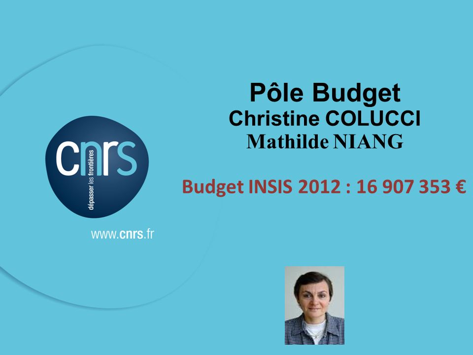 26 Pôle Budget Christine COLUCCI Mathilde NIANG Budget INSIS 2012 : 16 907 353