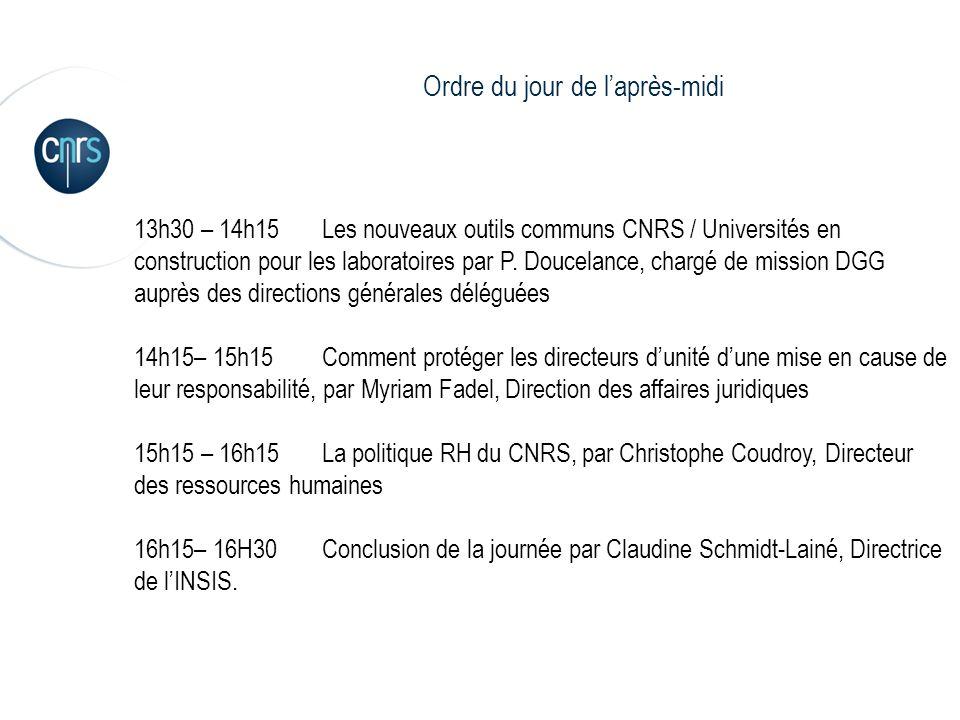 3 13h30 – 14h15Les nouveaux outils communs CNRS / Universités en construction pour les laboratoires par P. Doucelance, chargé de mission DGG auprès de