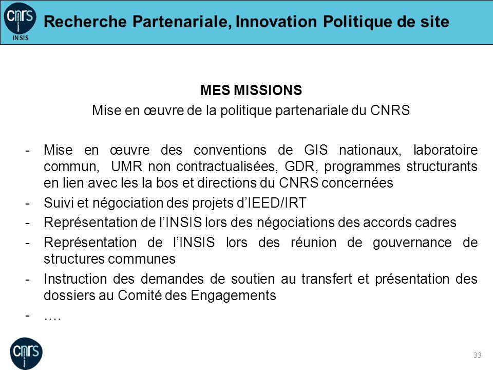 33 MES MISSIONS Mise en œuvre de la politique partenariale du CNRS -Mise en œuvre des conventions de GIS nationaux, laboratoire commun, UMR non contra