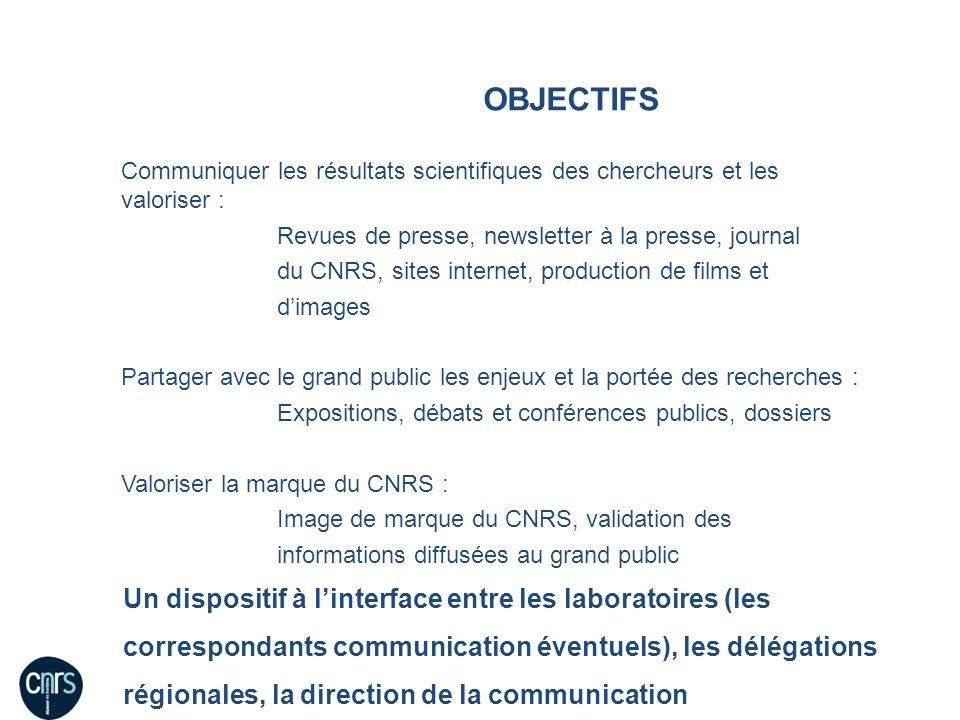 OBJECTIFS Communiquer les résultats scientifiques des chercheurs et les valoriser : Revues de presse, newsletter à la presse, journal du CNRS, sites i