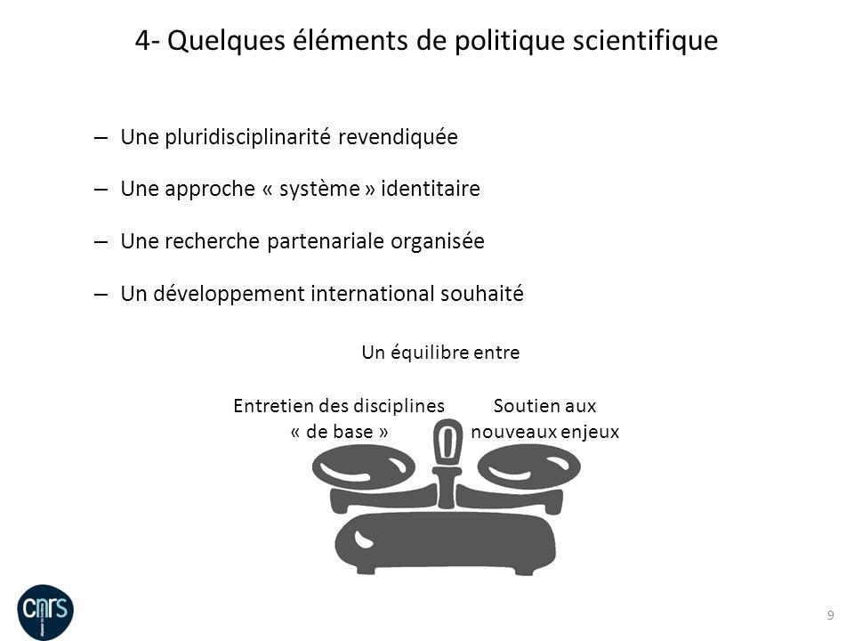9 – Une pluridisciplinarité revendiquée – Une approche « système » identitaire – Une recherche partenariale organisée – Un développement international