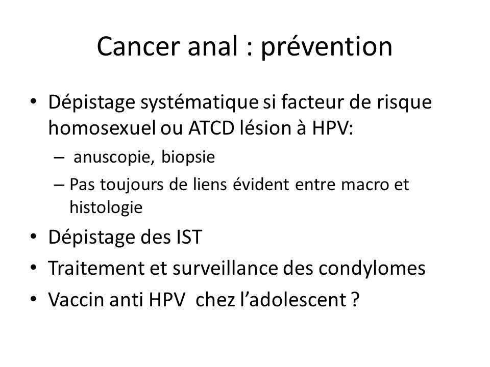 Cancer anal : prévention Dépistage systématique si facteur de risque homosexuel ou ATCD lésion à HPV: – anuscopie, biopsie – Pas toujours de liens évi