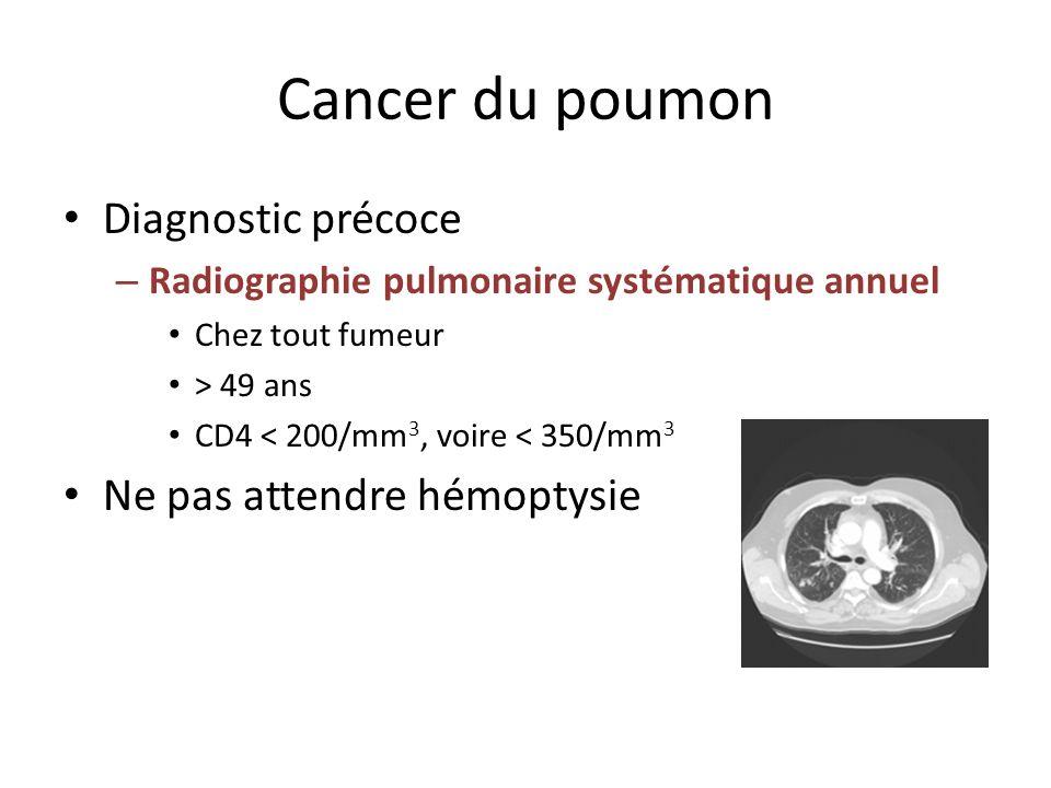 Cancer du poumon Diagnostic précoce – Radiographie pulmonaire systématique annuel Chez tout fumeur > 49 ans CD4 < 200/mm 3, voire < 350/mm 3 Ne pas at