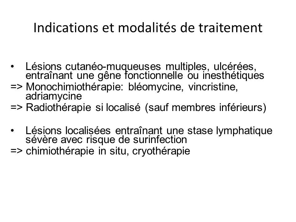 Indications et modalités de traitement Lésions cutanéo-muqueuses multiples, ulcérées, entraînant une gêne fonctionnelle ou inesthétiques => Monochimio