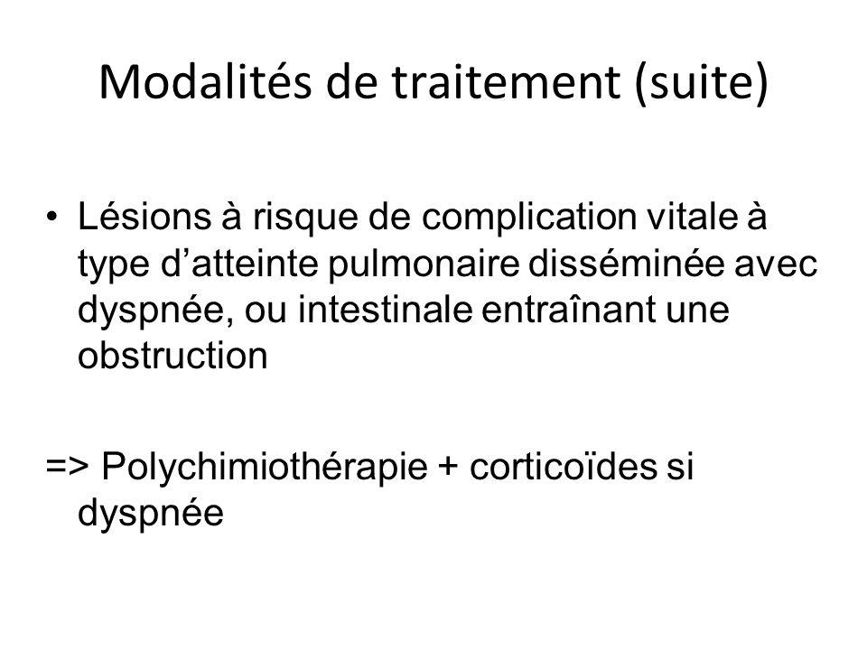 Modalités de traitement (suite) Lésions à risque de complication vitale à type datteinte pulmonaire disséminée avec dyspnée, ou intestinale entraînant