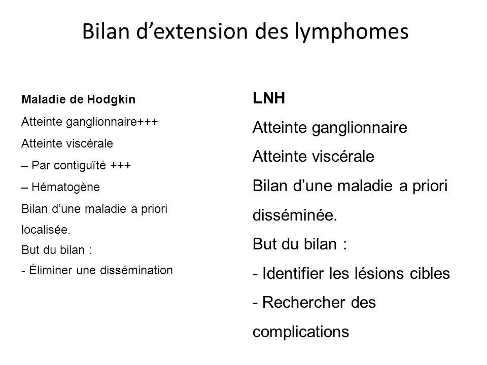Maladie de Hodgkin Atteinte ganglionnaire+++ Atteinte viscérale – Par contiguïté +++ – Hématogène Bilan dune maladie a priori localisée. But du bilan