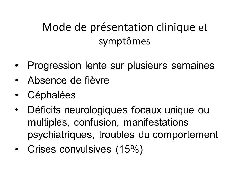 Mode de présentation clinique et symptômes Progression lente sur plusieurs semaines Absence de fièvre Céphalées Déficits neurologiques focaux unique o