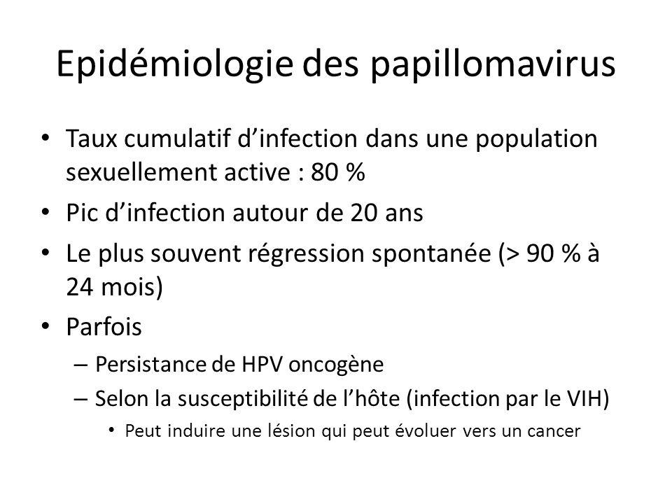 Epidémiologie des papillomavirus Taux cumulatif dinfection dans une population sexuellement active : 80 % Pic dinfection autour de 20 ans Le plus souv