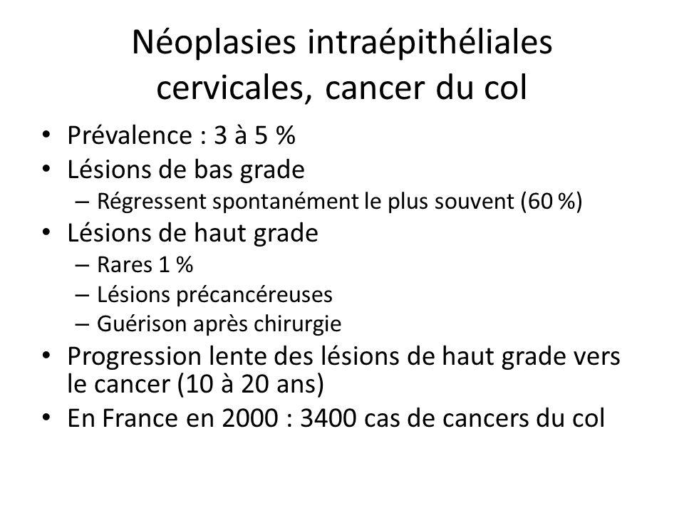 Néoplasies intraépithéliales cervicales, cancer du col Prévalence : 3 à 5 % Lésions de bas grade – Régressent spontanément le plus souvent (60 %) Lési