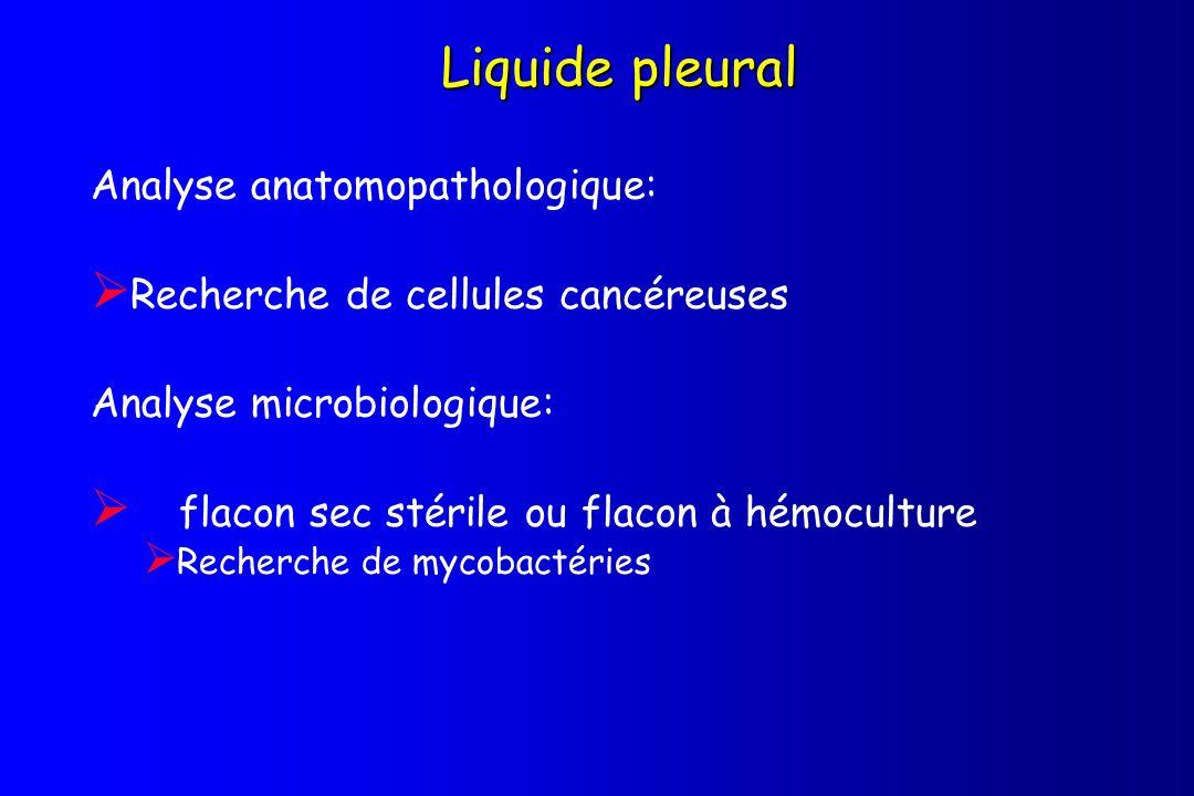 Liquide pleural Analyse anatomopathologique: Recherche de cellules cancéreuses Analyse microbiologique: flacon sec stérile ou flacon à hémoculture Rec