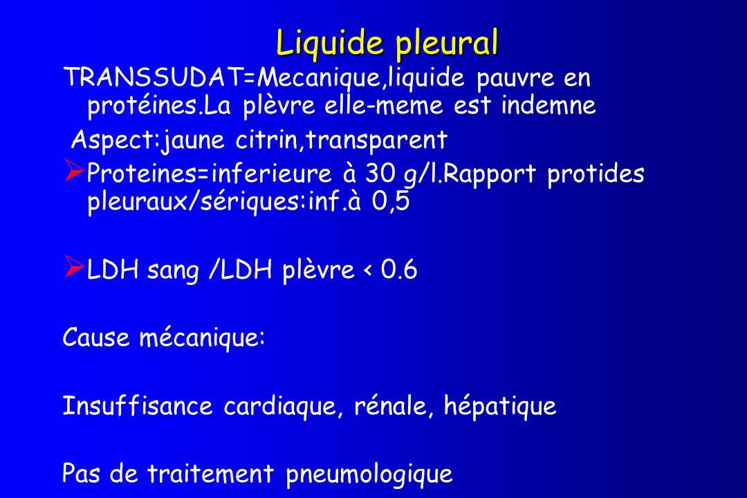 Liquide pleural TRANSSUDAT=Mecanique,liquide pauvre en protéines.La plèvre elle-meme est indemne Aspect:jaune citrin,transparent Proteines=inferieure