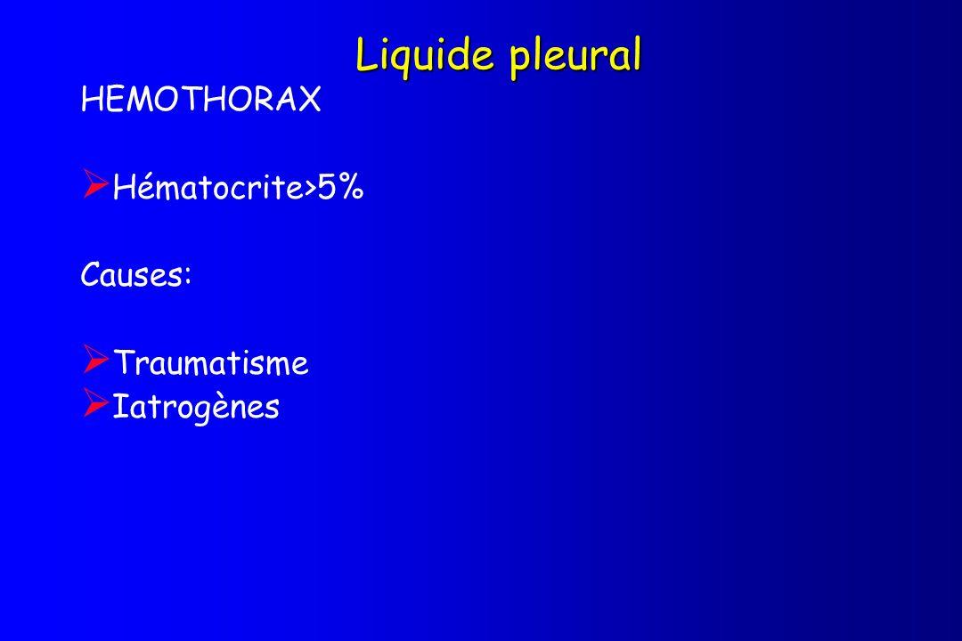 Liquide pleural HEMOTHORAX Hématocrite>5% Causes: Traumatisme Iatrogènes