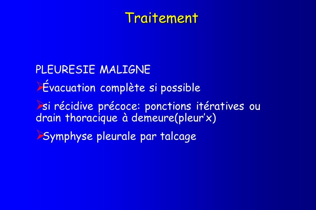 Traitement PLEURESIE MALIGNE Évacuation complète si possible si récidive précoce: ponctions itératives ou drain thoracique à demeure(pleurx) Symphyse