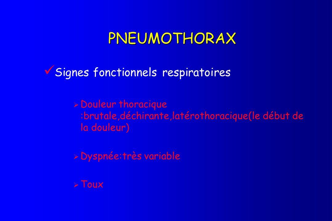 PNEUMOTHORAX Signes fonctionnels respiratoires Douleur thoracique :brutale,déchirante,latérothoracique(le début de la douleur) Dyspnée:très variable T