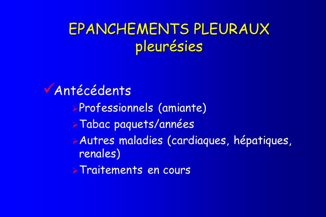 Antécédents Professionnels (amiante) Tabac paquets/années Autres maladies (cardiaques, hépatiques, renales) Traitements en cours