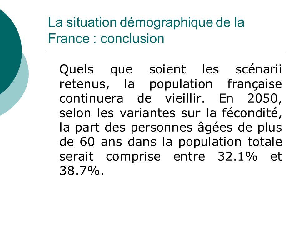 La situation démographique de la France : conclusion Quels que soient les scénarii retenus, la population française continuera de vieillir. En 2050, s