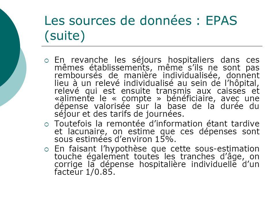 Les sources de données : EPAS (suite) En revanche les séjours hospitaliers dans ces mêmes établissements, même sils ne sont pas remboursés de manière
