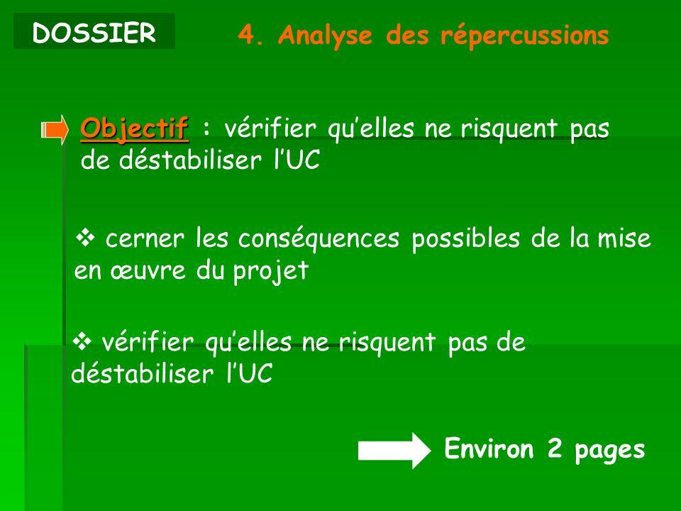 DOSSIER 4. Analyse des répercussions Environ 2 pages Objectif Objectif : vérifier quelles ne risquent pas de déstabiliser lUC cerner les conséquences