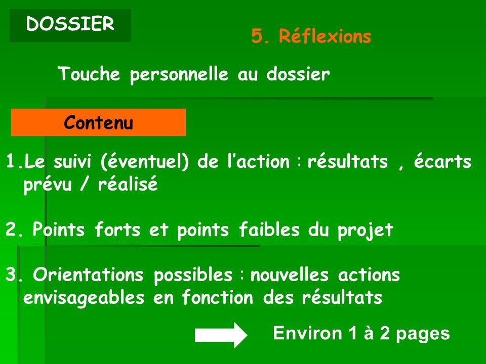 DOSSIER 5. Réflexions Environ 1 à 2 pages Touche personnelle au dossier Contenu 1.Le suivi (éventuel) de laction : résultats, écarts prévu / réalisé 2