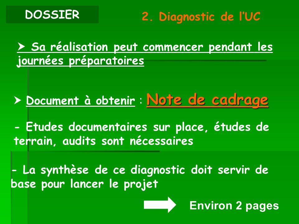 DOSSIER 2. Diagnostic de lUC Sa réalisation peut commencer pendant les journées préparatoires - Etudes documentaires sur place, études de terrain, aud
