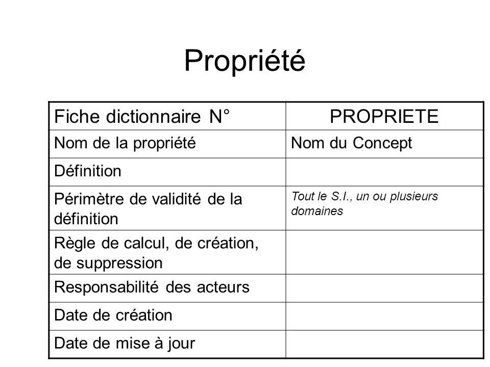Propriété Fiche dictionnaire N°PROPRIETE Nom de la propriétéNom du Concept Définition Périmètre de validité de la définition Tout le S.I., un ou plusi