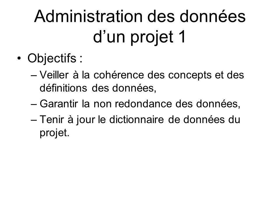 Administration des données dun projet 1 Objectifs : –Veiller à la cohérence des concepts et des définitions des données, –Garantir la non redondance d