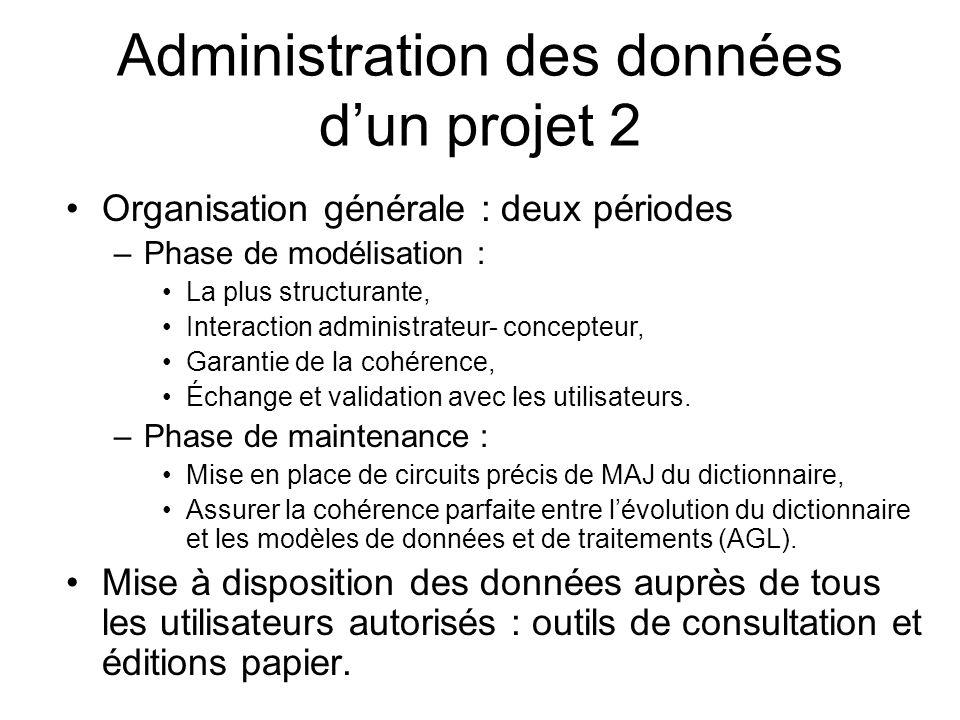 Administration des données dun projet 2 Organisation générale : deux périodes –Phase de modélisation : La plus structurante, Interaction administrateu