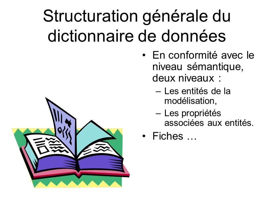 Structuration générale du dictionnaire de données En conformité avec le niveau sémantique, deux niveaux : –Les entités de la modélisation, –Les propri