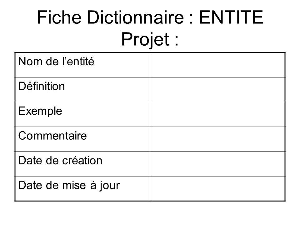Fiche Dictionnaire : ENTITE Projet : Nom de lentité Définition Exemple Commentaire Date de création Date de mise à jour