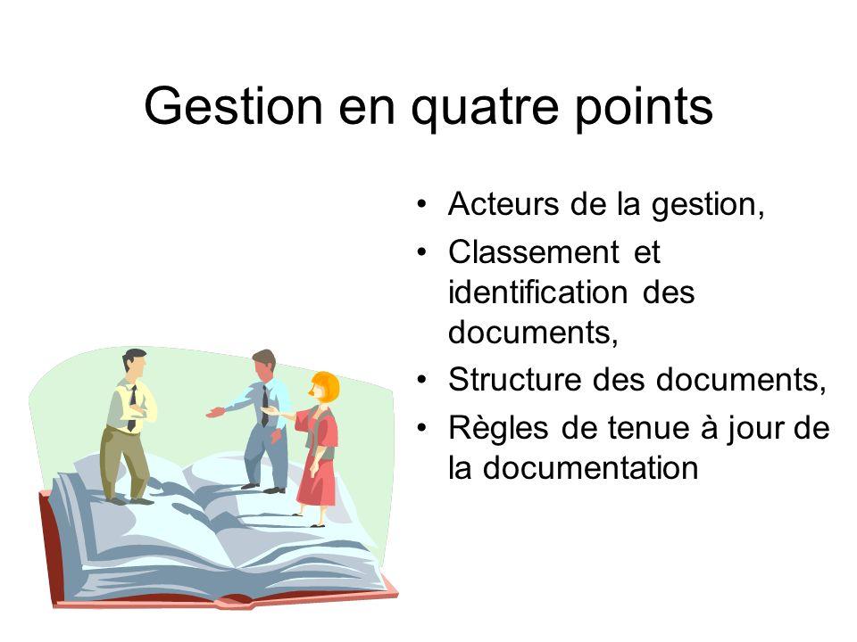 Gestion en quatre points Acteurs de la gestion, Classement et identification des documents, Structure des documents, Règles de tenue à jour de la docu