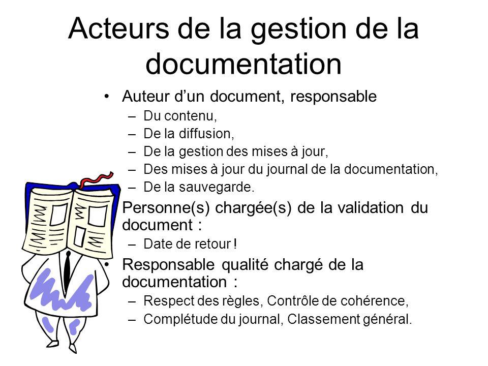 Acteurs de la gestion de la documentation Auteur dun document, responsable –Du contenu, –De la diffusion, –De la gestion des mises à jour, –Des mises