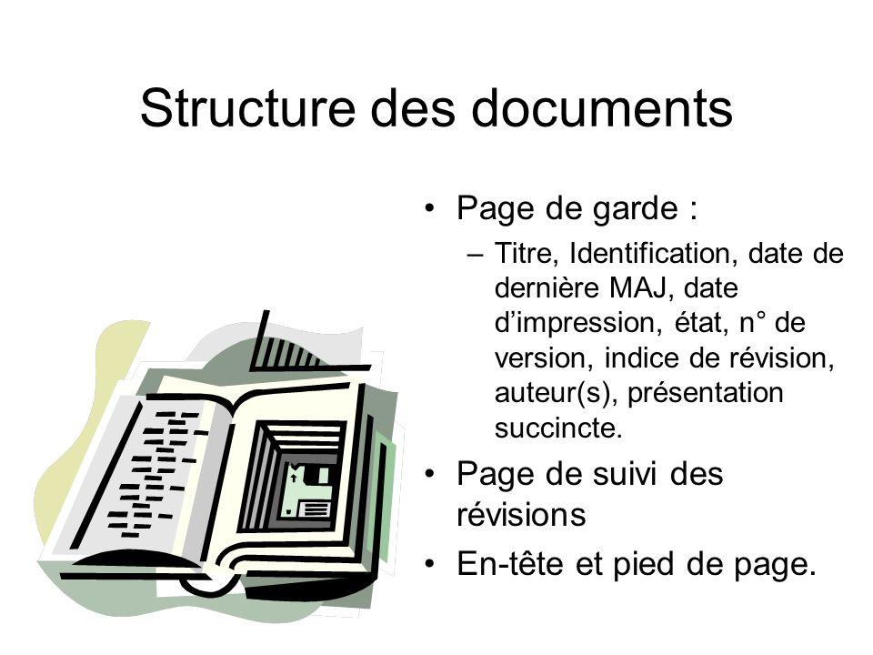 Structure des documents Page de garde : –Titre, Identification, date de dernière MAJ, date dimpression, état, n° de version, indice de révision, auteu