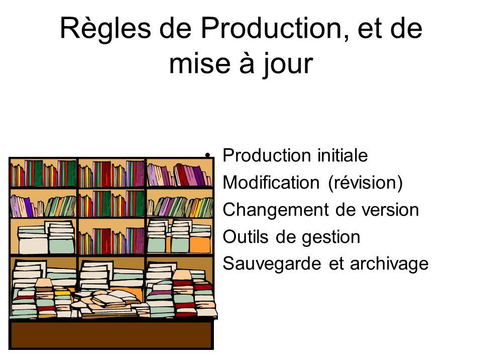 Règles de Production, et de mise à jour Production initiale Modification (révision) Changement de version Outils de gestion Sauvegarde et archivage