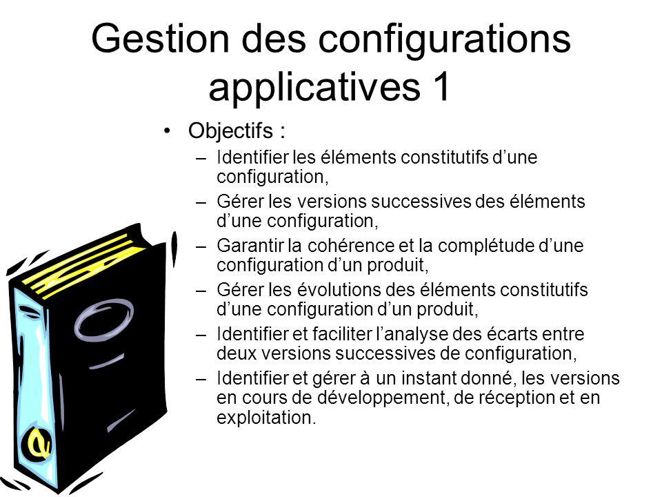 Gestion des configurations applicatives 1 Objectifs : –Identifier les éléments constitutifs dune configuration, –Gérer les versions successives des él