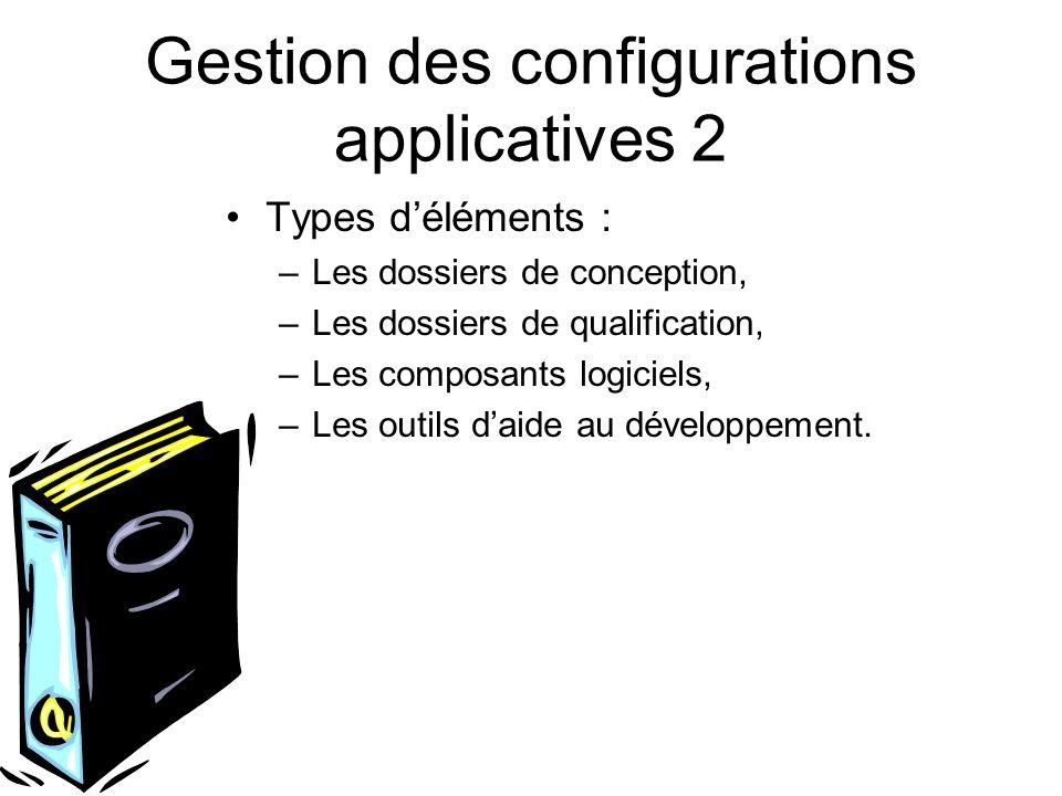 Gestion des configurations applicatives 2 Types déléments : –Les dossiers de conception, –Les dossiers de qualification, –Les composants logiciels, –L