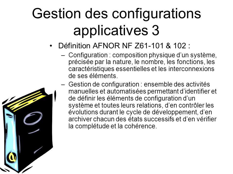 Gestion des configurations applicatives 3 Définition AFNOR NF Z61-101 & 102 : –Configuration : composition physique dun système, précisée par la natur