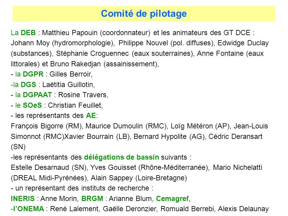 La DEB : Matthieu Papouin (coordonnateur) et les animateurs des GT DCE : Johann Moy (hydromorphologie), Philippe Nouvel (pol. diffuses), Edwidge Ducla